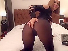DirtyJess removes stockings and shows her legs