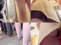 Skinny-ass gal filmed in a bus in upskirt mov