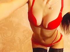 SEXkowka in red lingerie