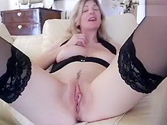 Mature blonde Whore4u fucks herself