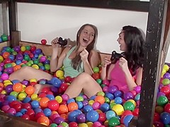 Horny pornstars Dani Daniels and Holly Michaels in amazing brunette, blowjob adult video