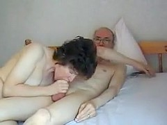 Grandpa s big cock  attractive mature swallows it