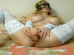 Big Boob Blonde Russian Cam Girl In White Lace