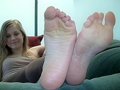 Blonde college girl  feet show her stinky feet