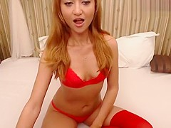 Cute babe Vikirymes in red lingerie