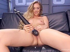 Amazing blonde, fetish porn scene with hottest pornstar Lyra Law from Fuckingmachines