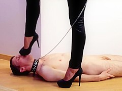Domination feet slave training slave on a leash femdom