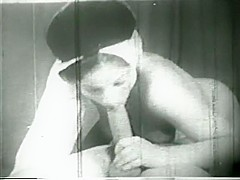 Old - timey arab sheikh licks and strokes harem girl's pussy, then she blows him