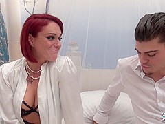 La Cochonne - Luscious French amateur redhead gets both holes stuffed in