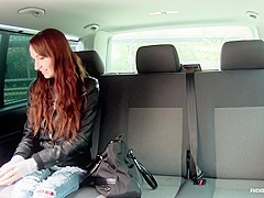 Fucked In Traffic - Hot Czech babe fucks hard and eats cum in the backseat of the car