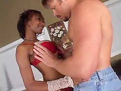Sexy Black Girl Takes White Creampie