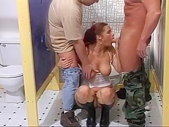 Nasty Slut Autumn Haze gets Caught in the Bathroom and Fucked