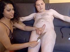 Luckyrose kicks the balls of Andrea Dipre after sex