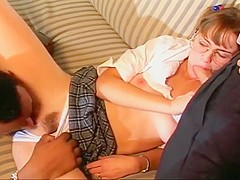 Four Eyes Teen Jizzed On By Two Cocks