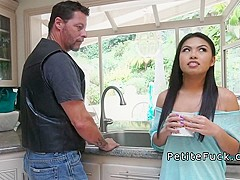 Petite Asian fucks plumbers big cock in kitchen