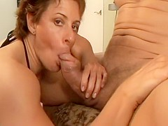 Short Haired Milf Smoking and Sucking