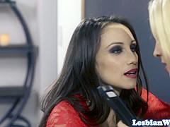 ### lesbian spys scissoring in sexy trio