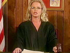 Sexy judge the blonde removes stress after court session