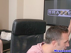 Lezdom licking tight pussy for babe