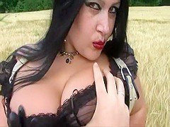 Nasty Blowjob Handjob on a Corn Field - Lady dressed in Leather, Boots Gloves - Cum in my Mouth