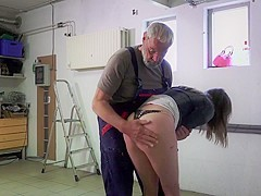 A young babe sucking old man dick with hard fuck