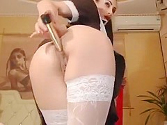 Aspasia was wearing a school uniform and fucks herself