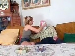 Old man junior girl - grampa Mireck help an old man tired