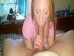 Amateur gives blowjob and swallows cum