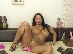 Hot  horny 50 year old latina milf rides dildo! Part 2