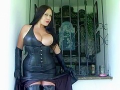 Public Blowjob in the Capel - Leather Blowjob Handjob with long Gloves - Cum on my Big Tits