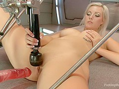 Blond newcomer anti's up with her Pussy vs. The Machines