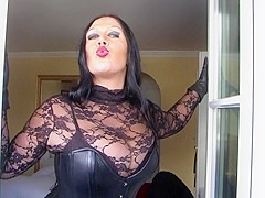 Nasty Sucking Bitch in the Hotel Room - Blowjob Handjob with Leather Gloves - Fuck my Mouth - Cum on