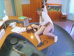 Helen in Doctors compulsory sexual health check makes busty temporary hospital assistants pussy wet