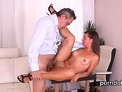 Cute college girl gets seduced and drilled by her elderly teacher