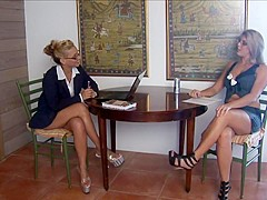 Christina conduct a job interview