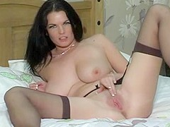 British slut Alison plays with herself in various scenes