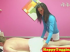 Smalltitted asian masseuse tugs for extra tip