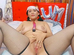 Busty latina playing dildo in stock net! Pt. 2
