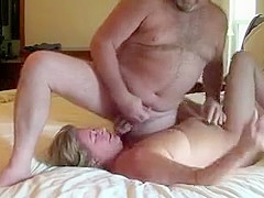 Mature wife cums with hubby cumming on her face