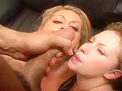 Christie Lee and Chelsea Zinn Give Blowjob and Swap Cum Load