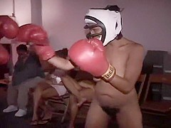 Topless Boxing with Two Black Amateurs