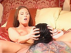Horny pornstars Mina Meow and Anastasia Pierce in exotic brunette, cunnilingus porn movie