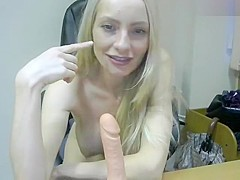 Blonde Anjelika0007 plays with a rubber phallus
