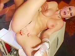 Guys Double Team Redhead Fuck Doll Hard