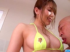 Busty wife, Yui Hatano, gets nasty on a really tasty dick