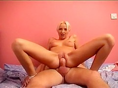 Mature blonde sucking hard dick and riding it nicely