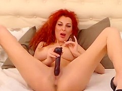 Curly haired ViperEyess stroking her body and pussy fucked