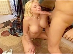 Little blond and busty slut Staci Thorn gets her throat fucked by Jenner