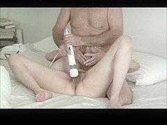 Hairy mature couple warm up with Hitachi wand, then fuck