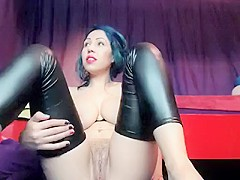 Busty horny wet pussy slut fingering and riding on the webcam